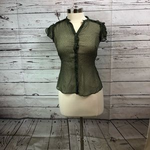 Banana Republic Green Chiffon Short Sleeve